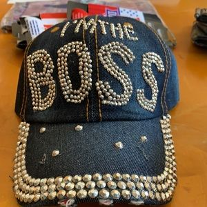 I'm the boss hat blue jean and silver new